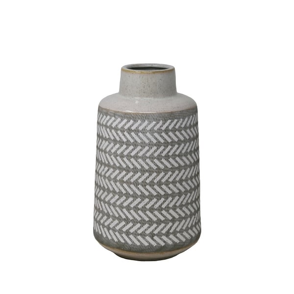 Etched Texture Decorative Ceramic Vase with Round Top and Tapered Base, Medium, Gray and White