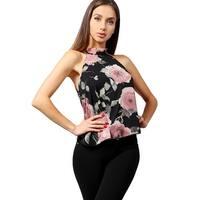 NE PEOPLE Women's Elegant Floral Oriental Chiffon Halter Neck Blouse Top