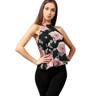 NE PEOPLE Women's Elegant Floral Oriental Chiffon Halter Neck Blouse Top