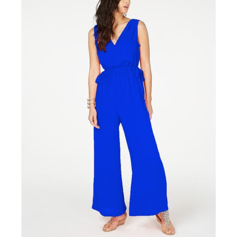 Thalia Sodi Women's Tie-Waist V-Neck Jumpsuit Blue Size Medium