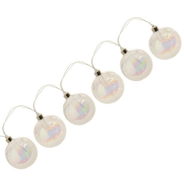 Set of 6 Battery Operated LED Clear Iridescent Frosted Ball Christmas Lights - Silver Wire