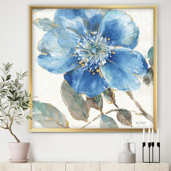 Designart 'Indigold Watercolor Flower I' Farmhouse Framed Art Print. Opens flyout.