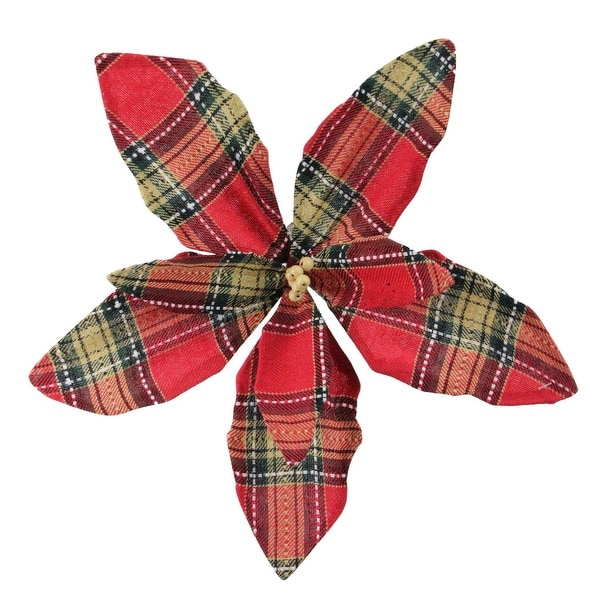 "13.5"" Red Plaid Poinsettia Flower Decorative Christmas Pick"
