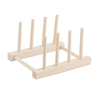 "Restaurant Wood Dish Bowl Cup Plate Holder Organizer Drying Rack - Wood Color - 7""x5.6""x4.2""(L*W*H)"