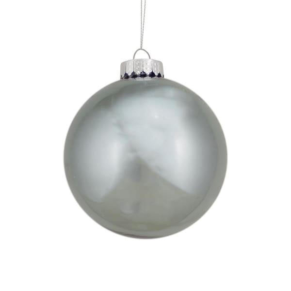 "3.75"" Winter Light Shiny Gun Metal Gray Glass Ball Christmas Ornament"