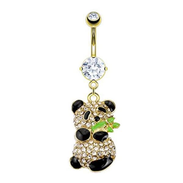 Gold Plated Stainless Steel CZ Paved Gold Plated Panda Holding Bamboo Navel Belly Button Ring