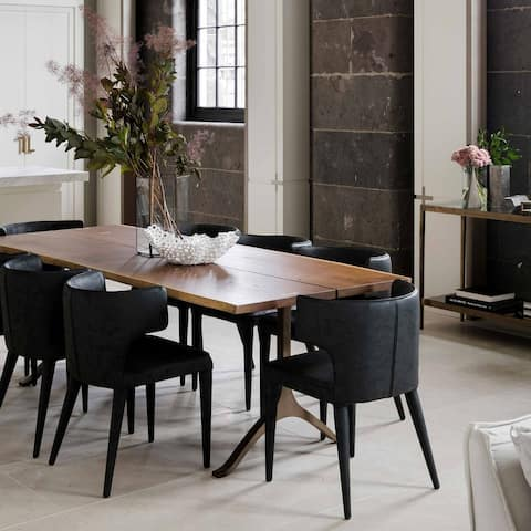 Extended Wingback Contemporary Modern Leather Dining Chair