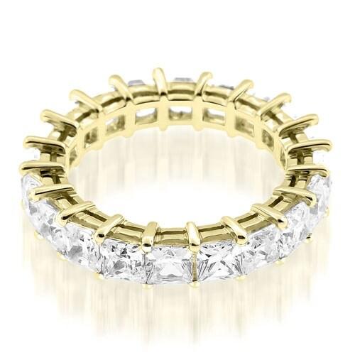 3.50 cttw. 14K Yellow Gold Exquisite Princess Basket Set Diamond Eternity Ring