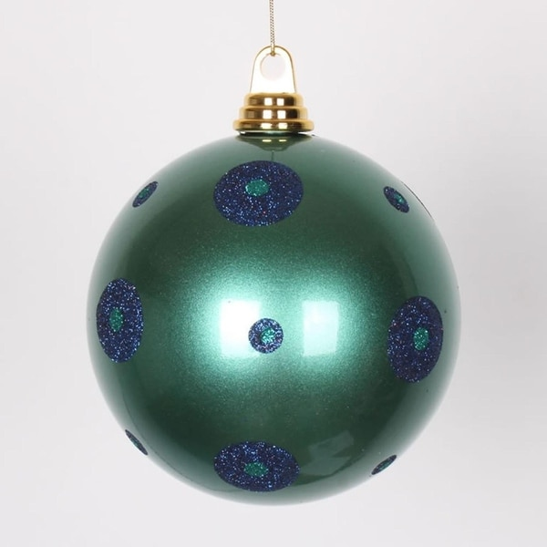 "Candy Teal Green w/ Sea Blue Glitter Polka Dots Christmas Ball Ornament 6"" (150mm)"