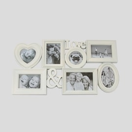 "26.5"" White Multi-Sized ""Love &"" Photo Picture Frame Collage Wall Decoration"