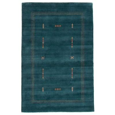 ECARPETGALLERY Hand Loomed Kashkuli Gabbeh Teal Wool Rug - 4'0 x 6'0