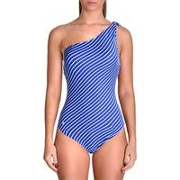 Lauren Ralph Lauren Womens Striped One-Shoulder One-Piece Swimsuit