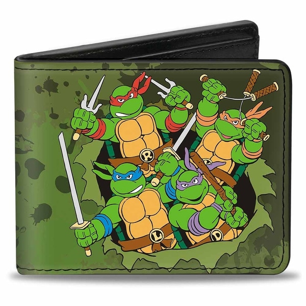 Classic Tmnt Turtles Battle Pose9 + Teenage Mutant Ninja Turtles Logo Bi-Fold Wallet - One Size Fits most