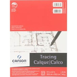 """50 Sheets - Canson Foundation Series Tracing Paper Pad 9""""X12"""""""