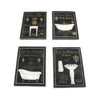 Set of 4 Bath Themed Stoneware Tile Wall Plaques - Black