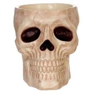 "Seasons Z28083 Halloween Skull Candy Bowl, Bone, 8-1/2"" H"