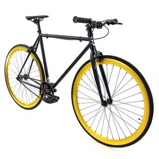 Fixed Gear - GOLDEN CYCLES Fixed Gear Bike Steel Frame Fixie with Deep V Rims - SAINT
