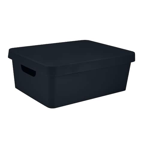 Simplify Medium Vinto Storage Box with Lid in Charcoal