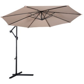 Costway 10' Hanging Umbrella Patio Sun Shade Offset Outdoor Market W/t Cross Base (Beige)