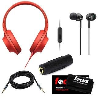 Sony MDR-100AAP h.ear on High-Resolution Stereo Headphones w/ Deep Bass Earphones & Micro Fiber Cleaning Cloth