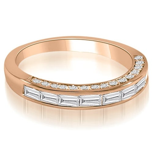 0.78 cttw. 14K Rose Gold Channel Baguette and Round Cut Diamond Wedding Band