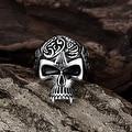 Vienna Jewelry Thin Skull Stainless Steel Ring - Thumbnail 1