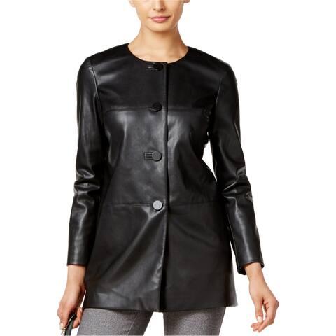 Alfani Womens PRIMA Faux-Leather Jacket, black, Small
