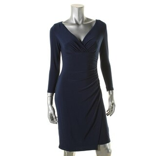 Lauren Ralph Lauren Womens Cocktail Dress Matte Jersey Faux Wrap