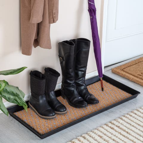 Jani Black Metal Boot Tray with Tan & Blue Coir Insert