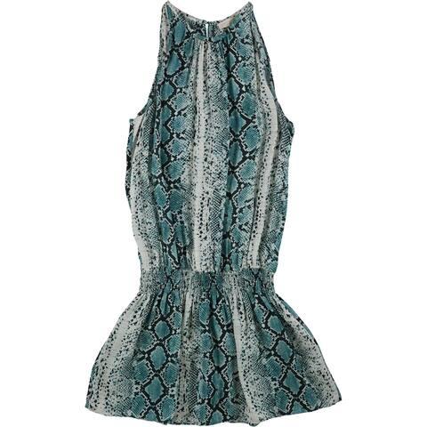 Ramy Brook Womens Printed Blouson Dress, Green, Large