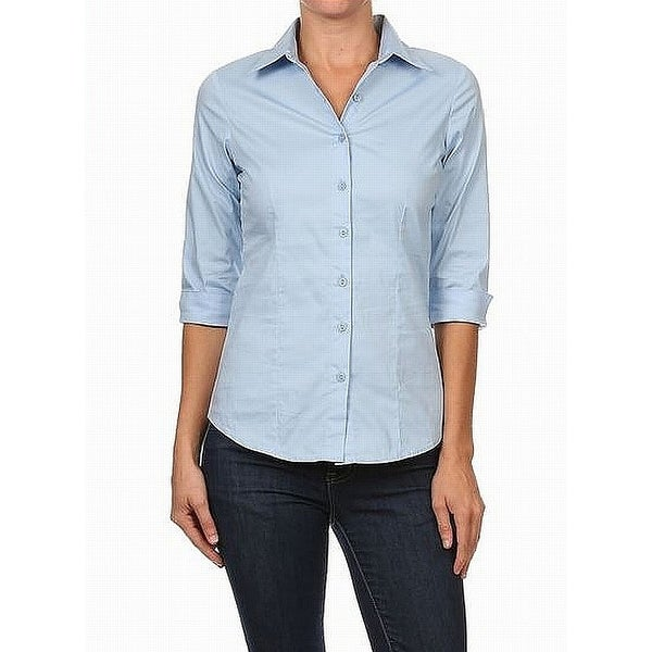 e76a039e Shop Mojo Light Blue Womens Size XL 3/4 Cuff Sleeve Button Down Shirt -  Free Shipping On Orders Over $45 - Overstock.com - 27014297