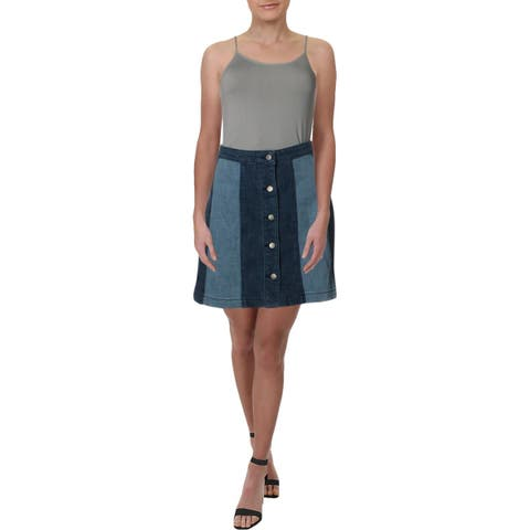 Rebecca Minkoff Womens Beatty Denim Skirt Button Front Colorblock - 4