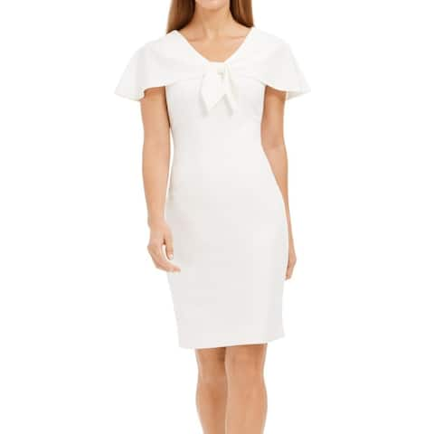 Calvin Klein Women's Dress White Size 2 Sheath Cap Shoulder Tie Front