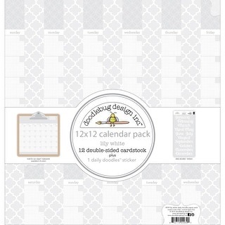 """Doodlebug Daily Doodles Calendar Paper Pack 12""""X12""""-Lily White"""