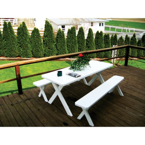 Pine 8' Cross-Leg Picnic Table with 2 Benches