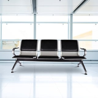 Kinbor 3-Seat Waiting Chair Leather Reception Bench Guest Chair for Office Airport Bank Salon