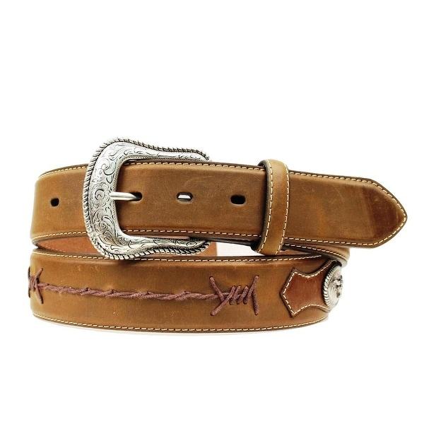 Nocona Western Belt Mens Barb Lace Conchos Leather Brown