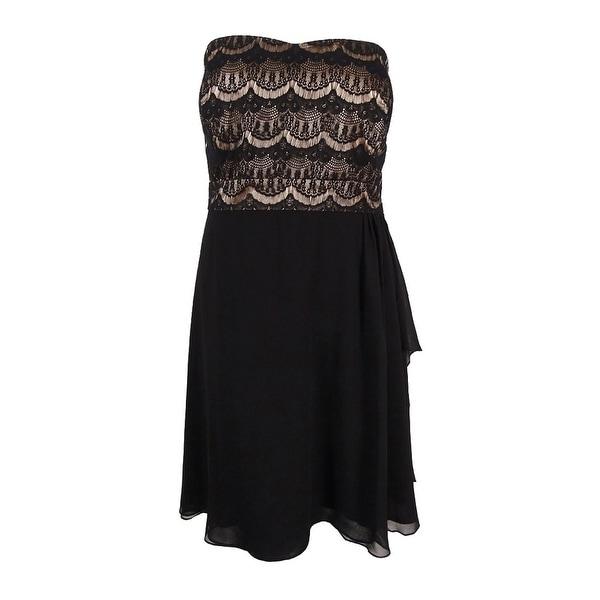 City Chic Womens Plus Size Strapless Fit Flare Eyelash Dress L