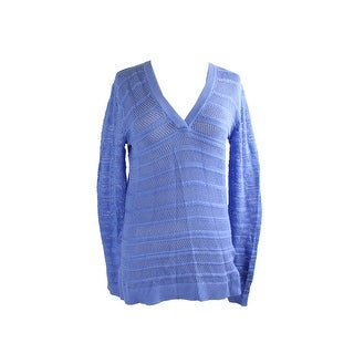 Michael Michael Kors Blue Mesh Knit Hi Low Sweater S