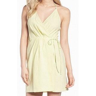 ASTR Yellow Womens Size Medium M Solid Surplice V-Neck Wrap Dress