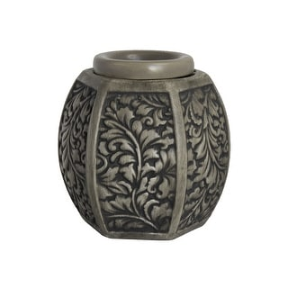 Home Indoor Decorative Scented Carved Laurel Full Size Ceramic Wax Warmer - Grey