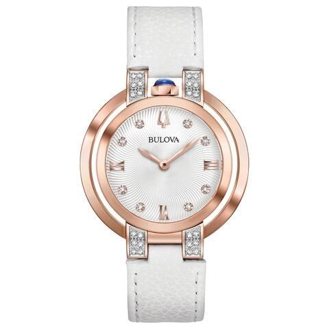 Bulova Women's 98R243 Rubaiyat Rosegold Diamond Accent White Leather Strap Watch - Rosetone