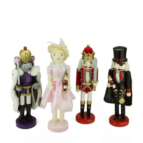 Set of 4 Decorative Wooden Nutcracker Suite Ballet Christmas Decorations - multi
