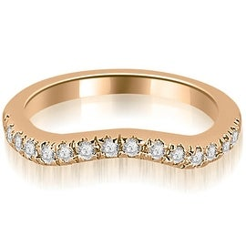 0.35 cttw. 14K Rose Gold Curved Round Cut Wedding Band