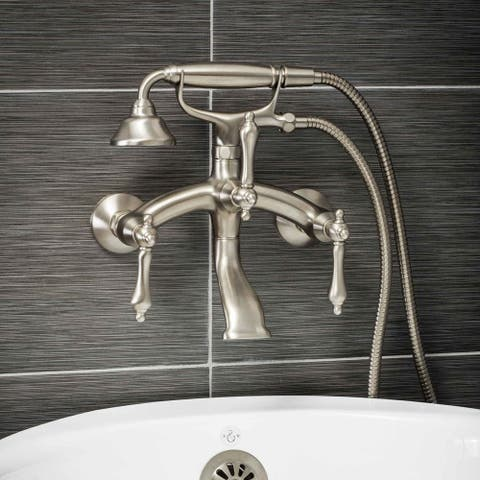 Pelham & White Luxury Tub Filler Faucet, Vintage Design, Wall Mount Installation, Lever Handles, Brushed Nickel Finish