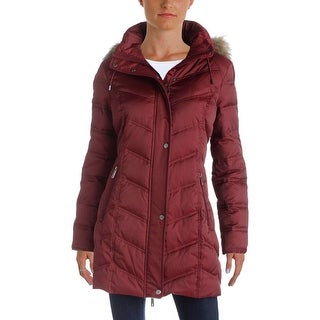 Kenneth Cole Womens Coat Quilted Faux Fur