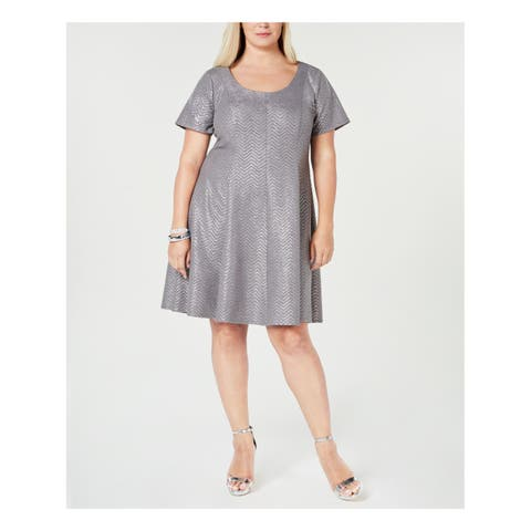 ROBBIE BEE Womens Silver Pleated Shimmer Metallic Short Sleeve Scoop Neck Above The Knee Fit + Flare Formal Dress Plus Size: 2X