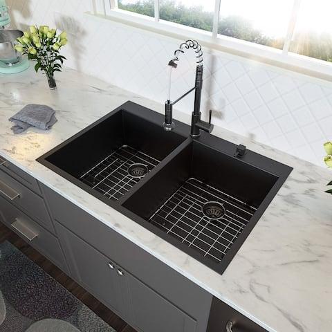 Kitchen Sink- 33 inch Topmount/Overmount 16 Gauge Stainless Steel Gunmetal Black Double Bowl 60/40 Drop Kitchen Sink Basin
