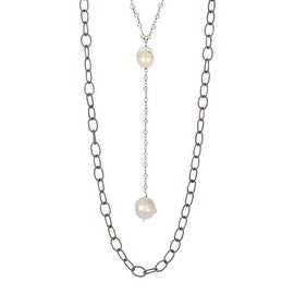 Sterling Silver White Sapphire & 12-15 mm Pearl Double Strand Necklace