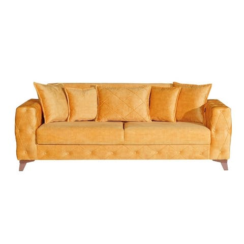 Mango Tufted Arm Convertible Sofa Sleeper with Storage